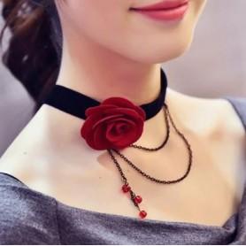 Collier Ras de Cou Rose et Perles Rouges