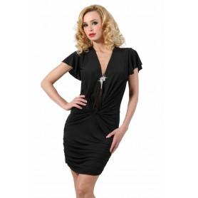 Robe Glamour Drapée Noire