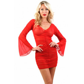 Robe Glamour Résille Rouge Froncée Spazm