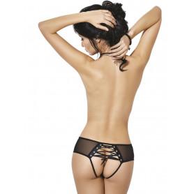 culotte sans entrejambe maille noire transparente