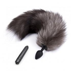 plug anal en silicone avec queue grise pour jeu animal