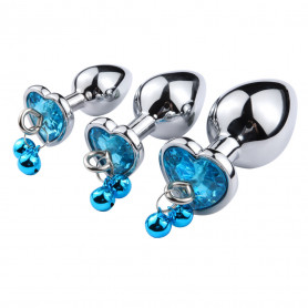 Plug Anal Diamant Coeur et Grelots Turquoise