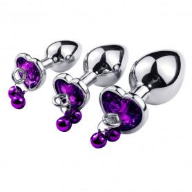 Plug Anal Diamant Coeur et Grelots Violet