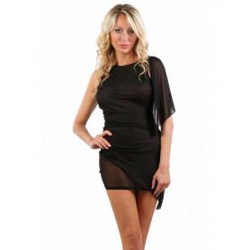 Robe Sexy Transparente Fine Résille Noire Spazm