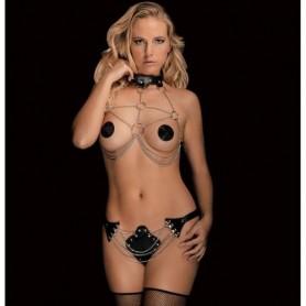 Harnais BDSM Chaînes et Cuir Angela Ouch