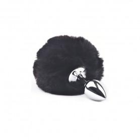 Plug Anal avec Pompon Lapin Noir